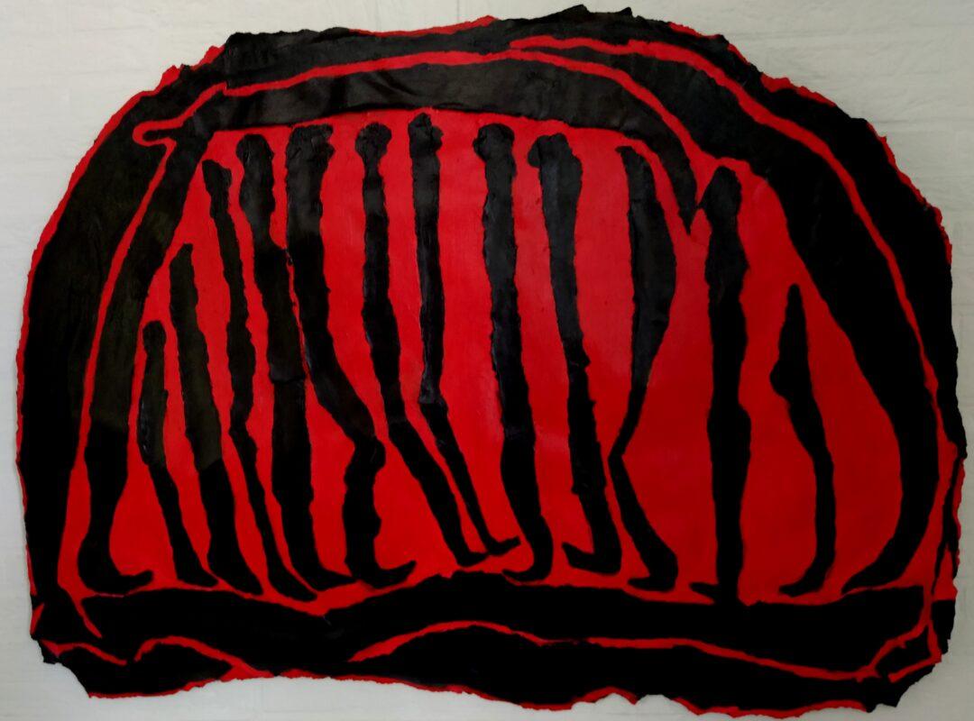 Landverhuizers. Acryl op gescheurdpapier 80-110 cm 2020